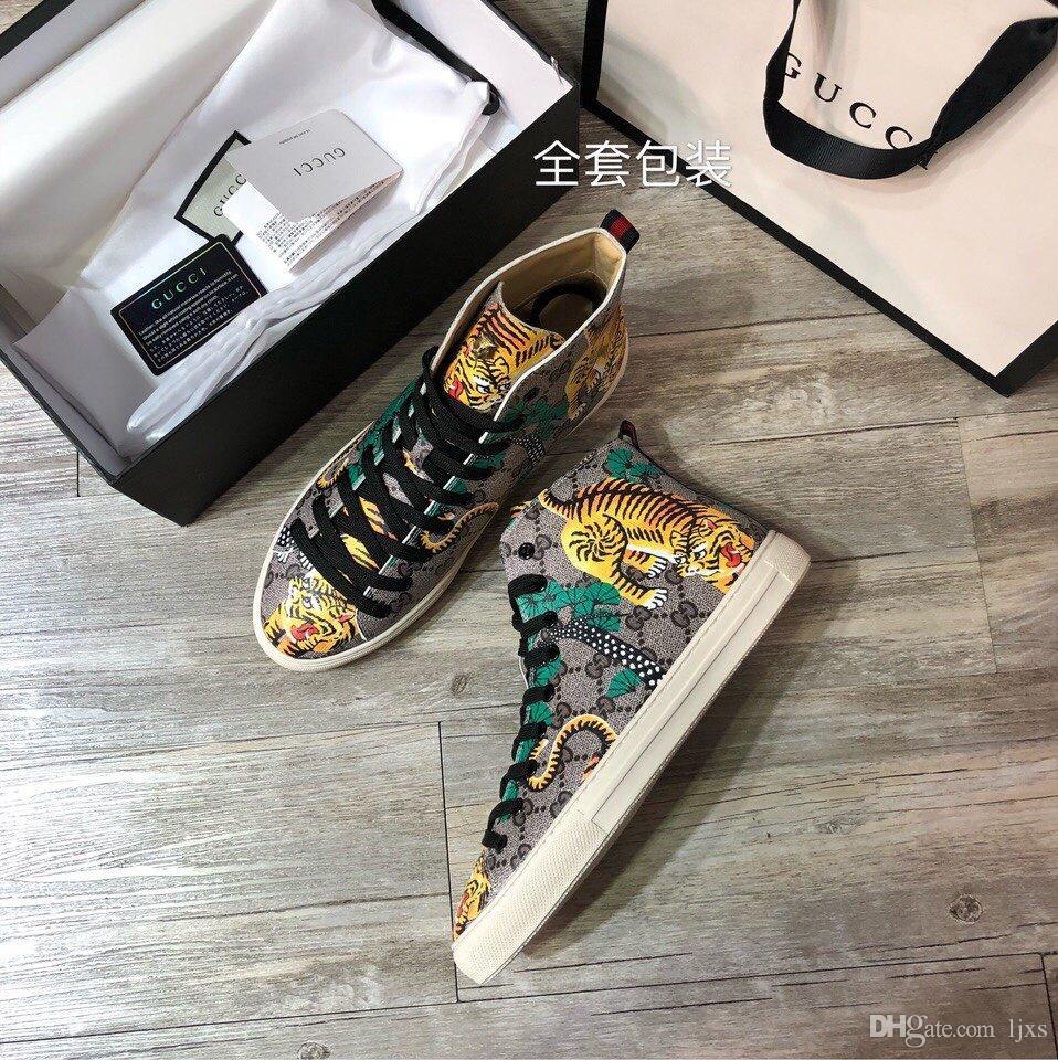 2020 Zapatos de diseñador para hombre stampa in pelle di tigre design di alta cima marchi di lusso scarpe casual # 2F