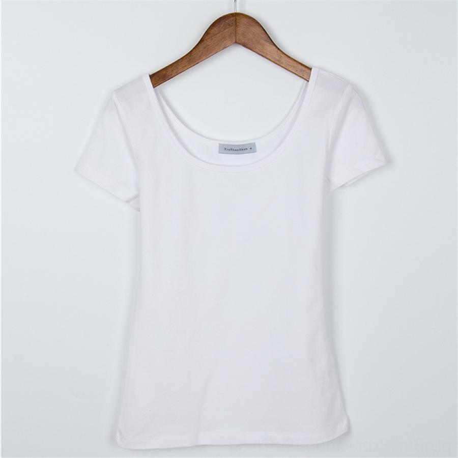 Verão roupas de baixo gola dupla U colar de manga curta T-shirt cuecas cor sólida camisa de base sem encosto algodão cuecas Slim T- mulheres