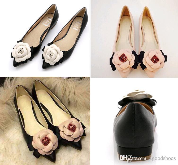 2019 femmes Ballerines en cuir véritable Chaussures camélia Couleurs mélangées peu profondes chaussures plates bout pointu Bouche Lady