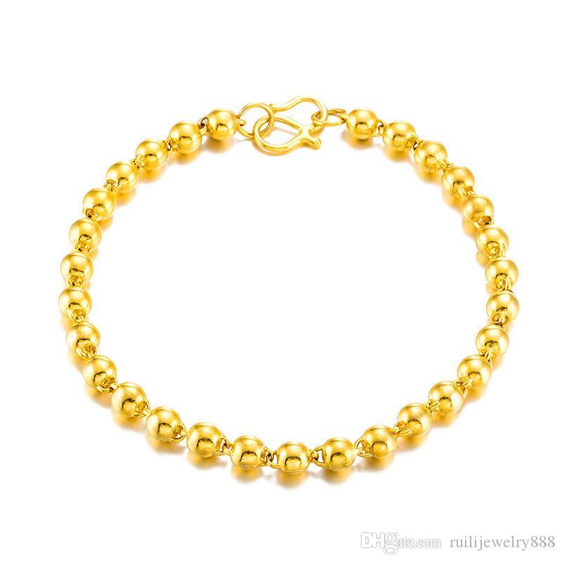 Роскошные 24 K золотые поверхности бусины бисер браслет K золото транспорт круглый шарик россыпного золота браслет женщин не выцветает