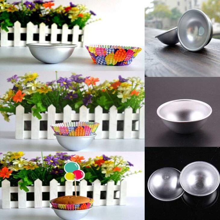 1000pcs / lot de la bola de aluminio 3D Esfera del molde para pasteles de la lata de bricolaje para hornear pasteles de bola Herramientas del molde del molde de cocina Moldes para hornear Baño bomba LX2009