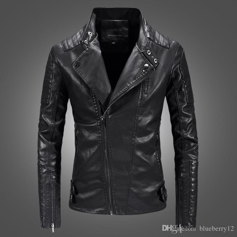 Hommes Veste motard veste moto en cuir PU Manteaux Homme Slim Fit Veste motard 3 couleurs Taille asiatique M-3XL