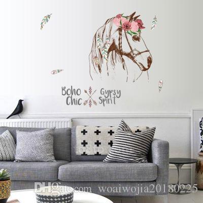20190621 criativo horsehead sticker alpendre moderno sala de estar quarto canto decorativo adesivo de parede