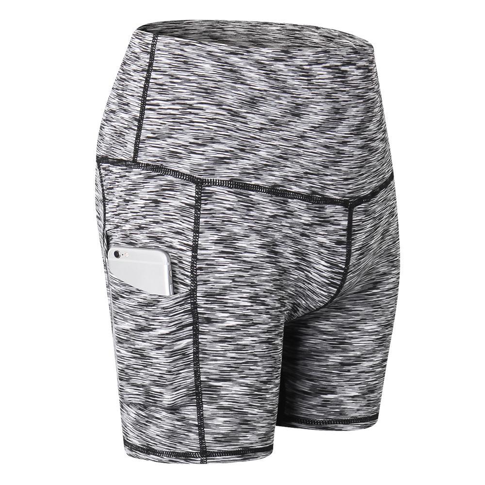 Las mujeres de cintura alta de la yoga del entrenamiento Pantalones cortos de control de la panza Pantalones cortos para correr yoga atlético con el bolsillo