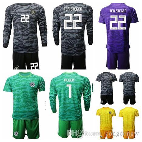 Dünya Kupası Takımı Ger Birçok Futbol Formaları Kaleci Kiti GK # 1 Neuer # 22 Ter Stegen Gömlek Kaleci Üniformalar Futbol Kiti Uzun Kol Kiti