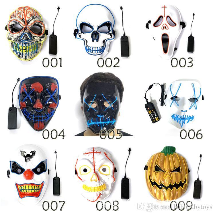 Atacado Halloween Luz LED Máscara Tools para Festa Luz Criativa traje Neon Cosplay Partido Horror Glowing máscaras de dança B205