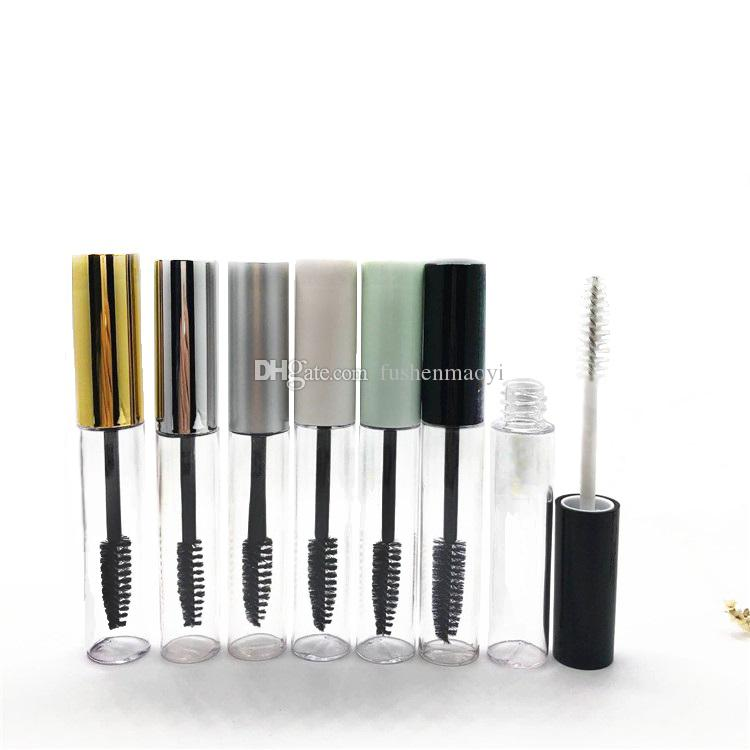 10ML Bouteille Mascara vide Container Tube avec Cils Baguette brosse ronde bouteilles PET clair Cils Mascara vide Bouteilles d'emballage