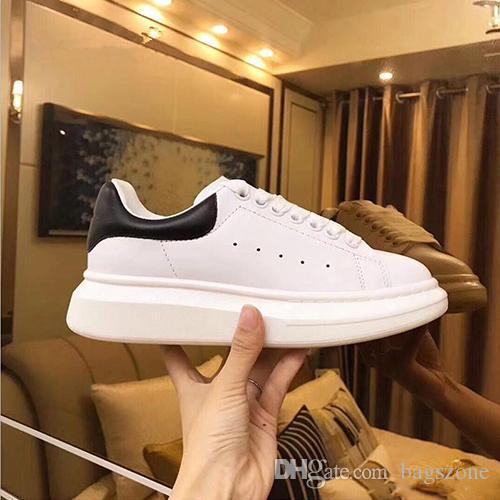 Mode gros Chaussures Casual Mode Flats Véritable Chaussures de marche en cuir plein air robe de soirée Daily Sneakers Noir Blanc