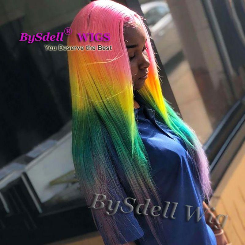 parrucca di capelli arcobaleno colorato brillante sintetico lungo rettilineo rosa giallo verde viola ombre parrucca anteriore del merletto parrucche parrucca moda femminile di bellezza