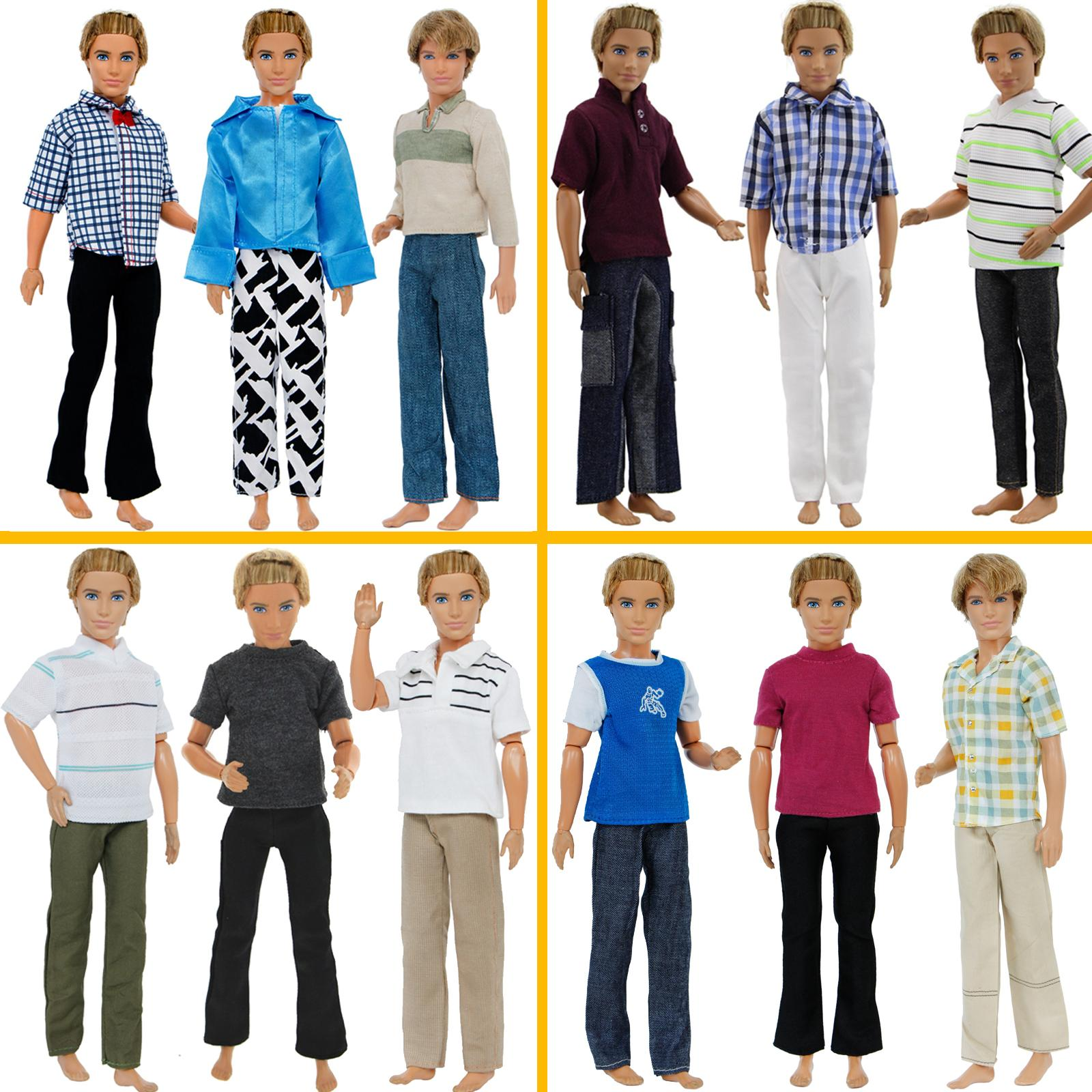 3 Set Men Outfits Pants Trousers + Tops Plaid Striped T-Shirt Doll Accessories Fashion Clothes for Barbie Doll Ken Clothes Gifts