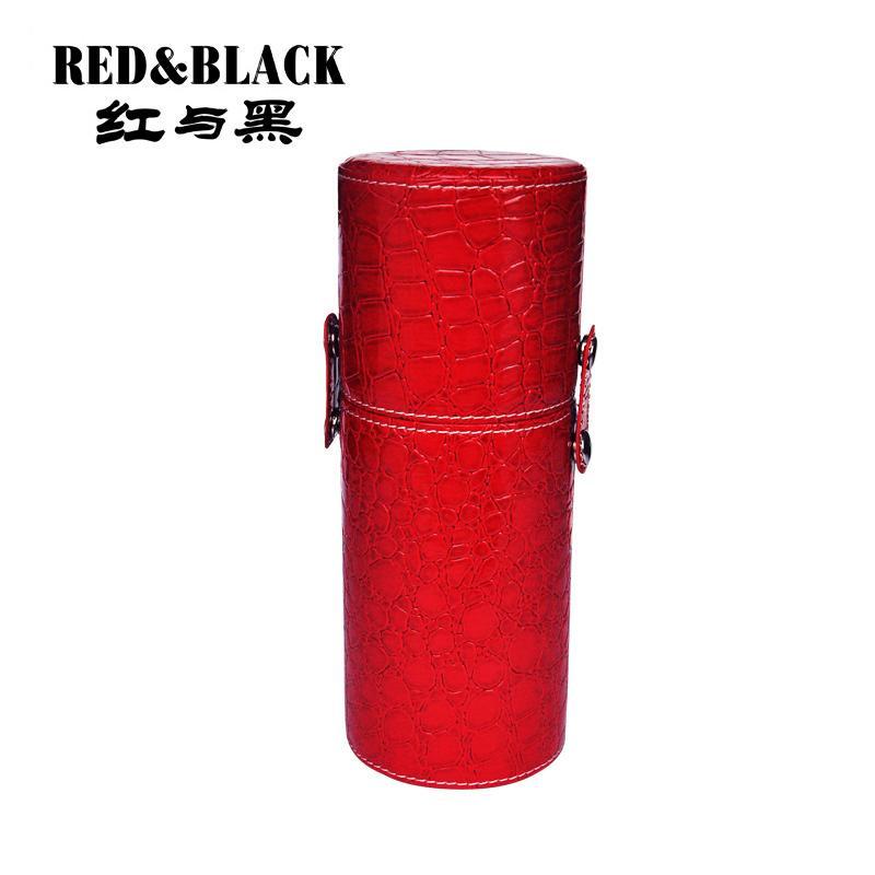 Redblack 매력적인 브러시 홀더 빈 휴대용 메이크업 브러쉬 케이스 라운드 펜 주최 화장품 도구 Pu 가죽 컵 컨테이너