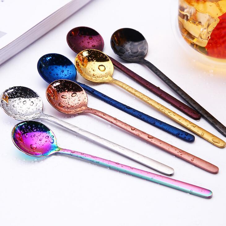 Tea Spoon Coffee Round Head Colorido Mini aço inoxidável Colher 304 Sobremesa colher de café de Promoção LX2183
