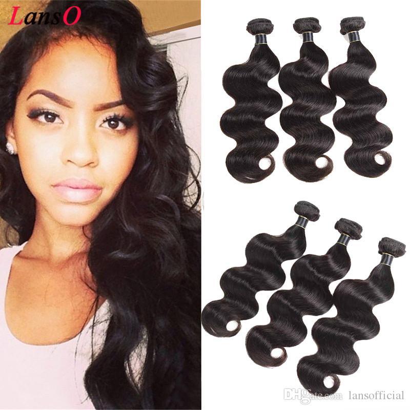 Hair Tissages Body péruvien indien brésilien Malaisie vague Remy de beaucoup de cheveux humains Tissages Extension Non Tangle Noir Naturel