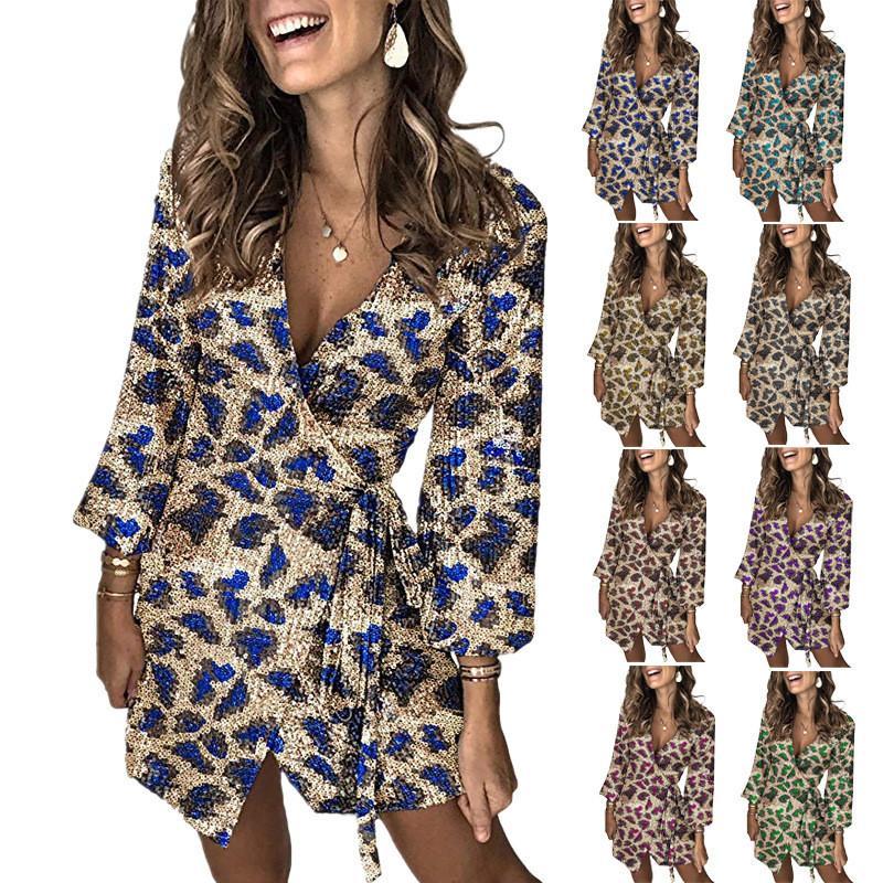 Noche atractivo del club vestidos impresos vestido de las mujeres de las lentejuelas del diseñador de moda vestido de las mujeres de lujo
