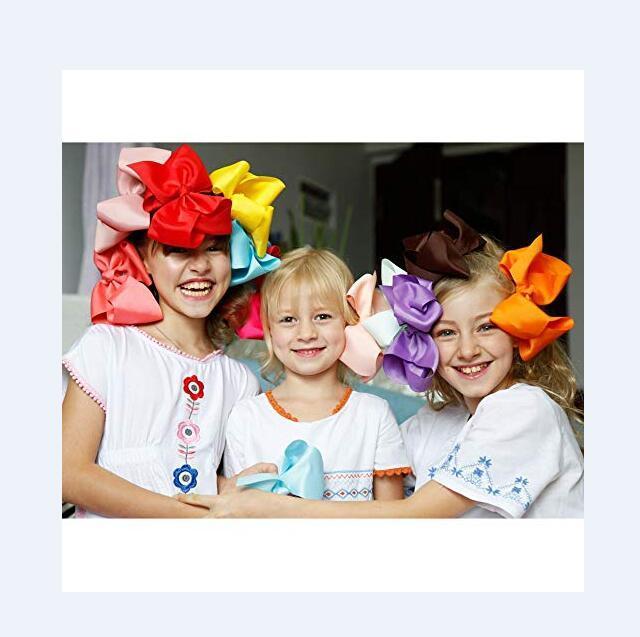 """8pcs / Mehrfarbig 8"""" Ripsband Haar-Bogen-Krokodilklemmen-Haar-Zusätze für kleine Mädchen Handgefertigte"""