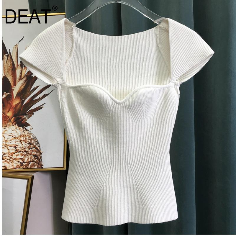 DEAT 2019 new spring sqaure collar sleeveless knitting pullover slim short high waist top female tank WK69001l Y200623