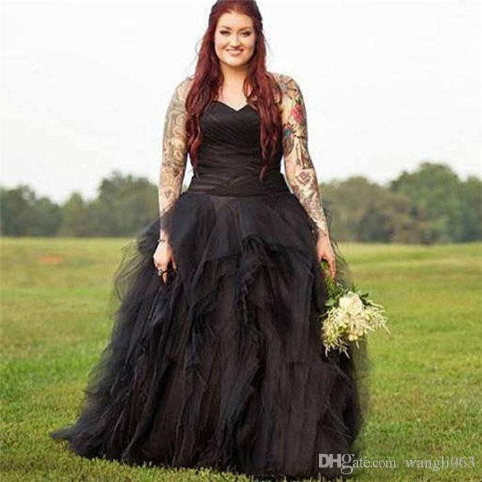 Discount Black Plus Size Wedding Dresses Court Train Sweetheart Neck Ruched  Tiered Tulle Corset Country Style Bridal Gowns Classic A Line Wedding ...