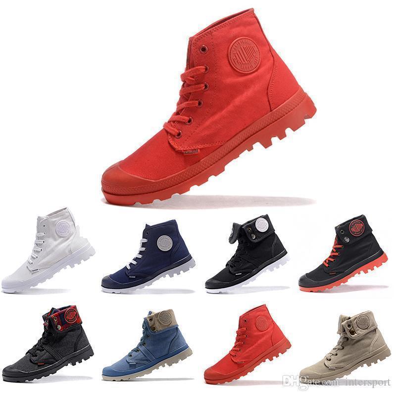Gemi Yeni Bırak PALLADIUM Pallabrouse Erkekler Yüksek Ordu Askeri Ayak Bileği erkek kadın çizmeler Tuval Sneakers Rahat Adam Kaymaz tasarımcı Ayakkabı 36-45