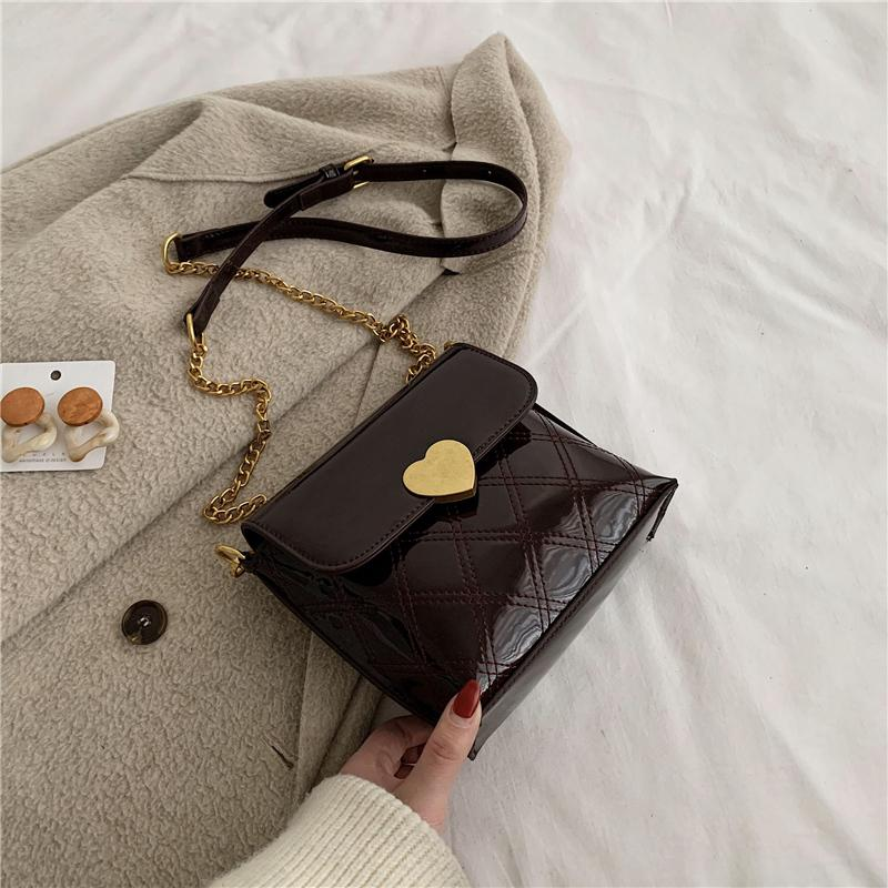 çanta moda vahşi omuz çantası bayan çapraz çanta rugan parlak kova zincir cüzdan 2020 yeni kadın