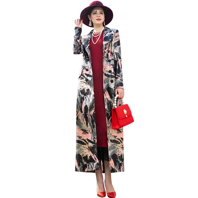 Vintage Windbreaker Embroidery Long Coat Florals Plus Size Trench Women Double Breasted Muslim Style Outwear Coat DZ2085