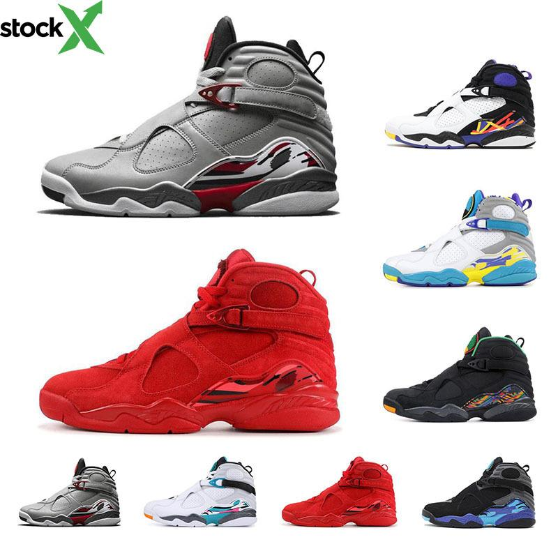 chaussures de basket-ball 8s 2020 Nouvelle arrivée de sport pour hommes Aqua noir Valentines jour Bugs 3M Reflective lapin 8 formateurs hommes chaussures de course