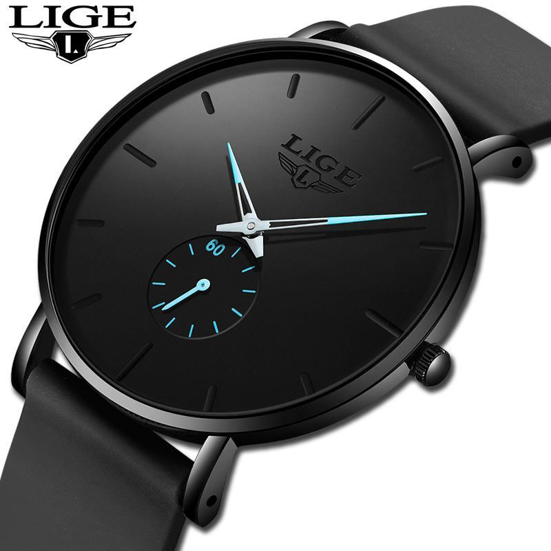2020 New LIGE Herrenuhren Mode Männer Uhr-Gurt-watchs Geschäftswasserdichte Quarz-Uhr All Steel Uhr Relogio Masculino + Box