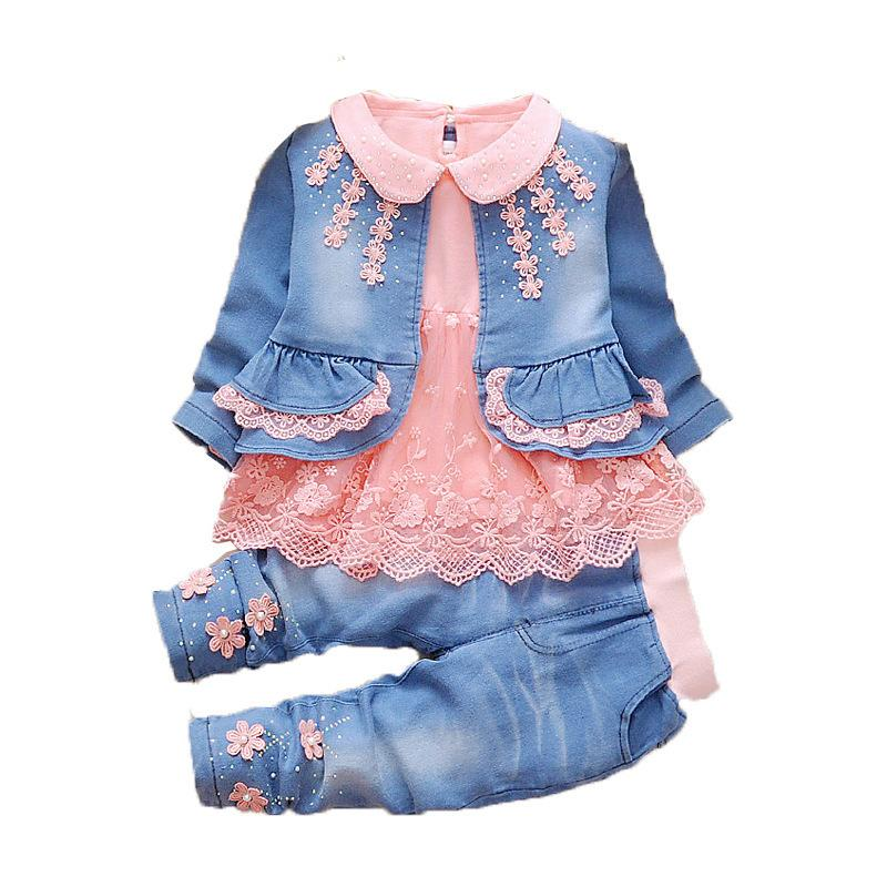 Toddler Girl Clothes 2019 New Spring Autumn Wear Baby Cowboy Clothing Sets 3pcs Kids Baby Cowboy Suit Children Clothing Sets Y190518
