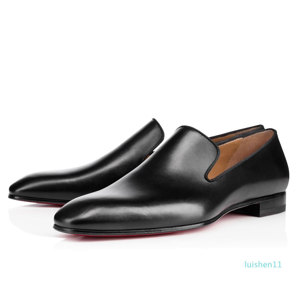 Rotes unteren Loafers Luxus-Partei-Hochzeit Schuhe Designer schwarzes Lackleder Velourslederschuh für Herren-Slip on Wohnungen l11