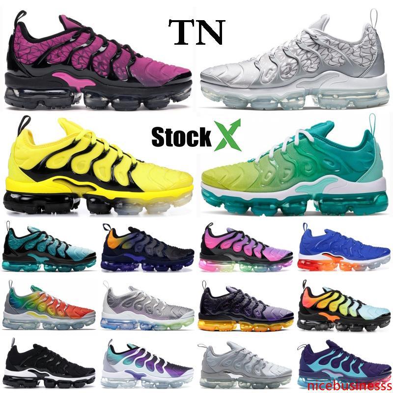 Ağartılmış Aqua TN Artı Erkekler Kadınlar Üçlü Siyah Beyaz Limon Kireç Overbranding Koyu Gri Beyaz Tasarımcı Sneakers Spor Ayakkabı için Ayakkabı Koşu