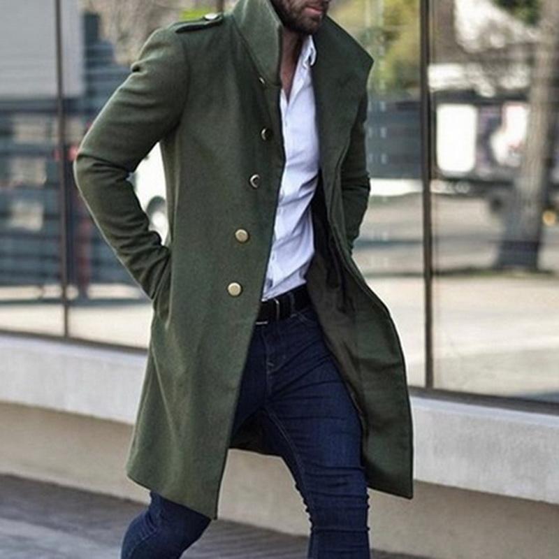 Men Slim Trench Male Casual Long Windbreaker Vintage Blends Coats Men's Medieval Renaissance Gothic Steampunk Capelet Cloak
