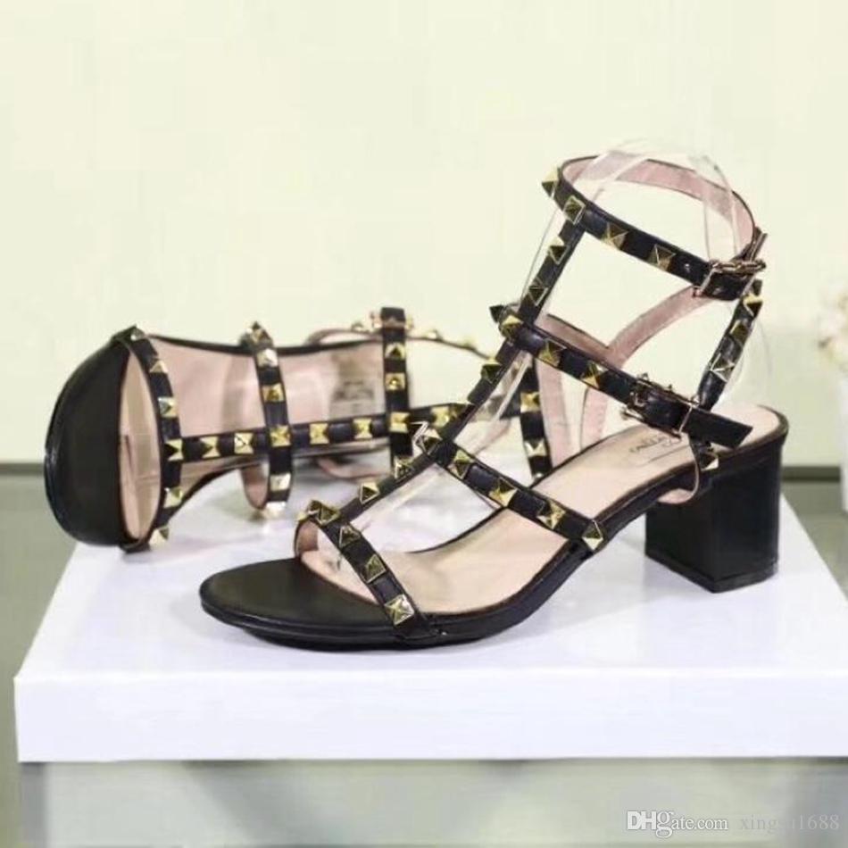 2018 nuovi sandali rivetti da donna europei con rivetti alti 5,5 cm sandali moda sandali con borchie in pelle donna sandali t-strap taglia 35-42