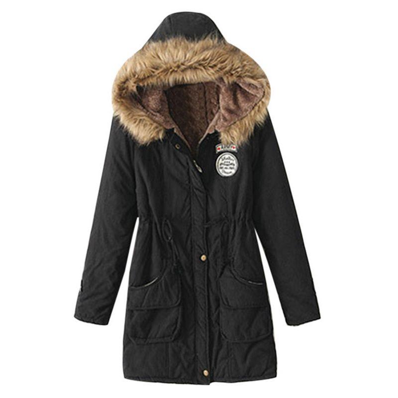 Winter Jacket Women Fur Collar Parkas Slim Zipper Parkas Wool Hat Belt Hoodie Thicken Winter Coat Outwear Long Female Snow Coat