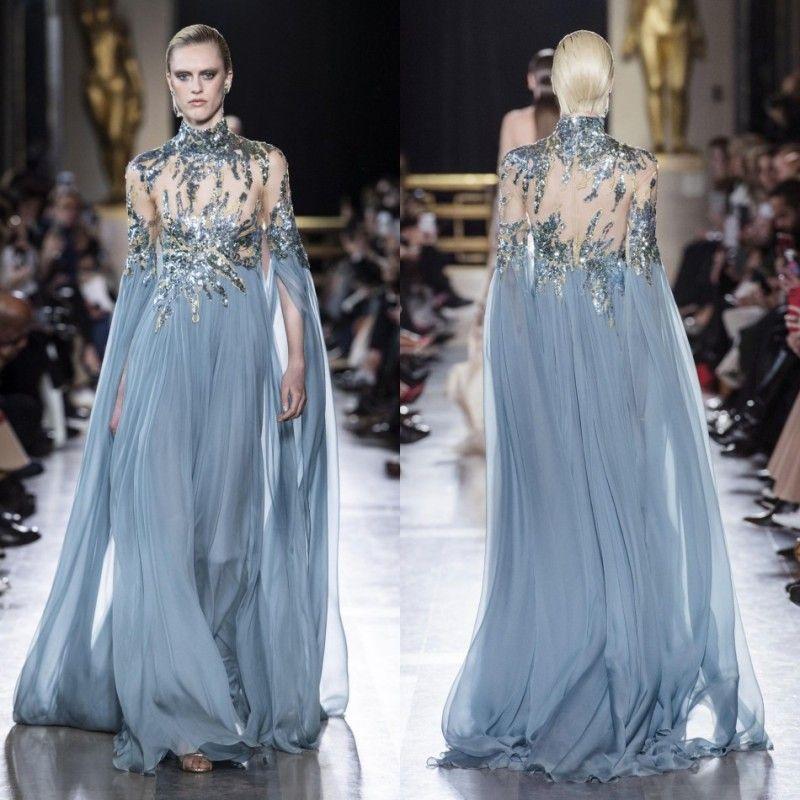 Elie Saab 2019 вечерние платья светло-голубые блестящие бусы с высокой шеей выпускные платья тюль с длинным рукавом