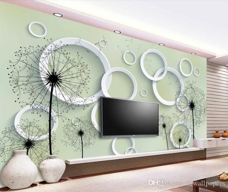 Fondo de pantalla personalizado simple y elegante del diente de león en tres dimensiones círculo de TV Sofá Pared del fondo del papel pintado 3D sala de estar