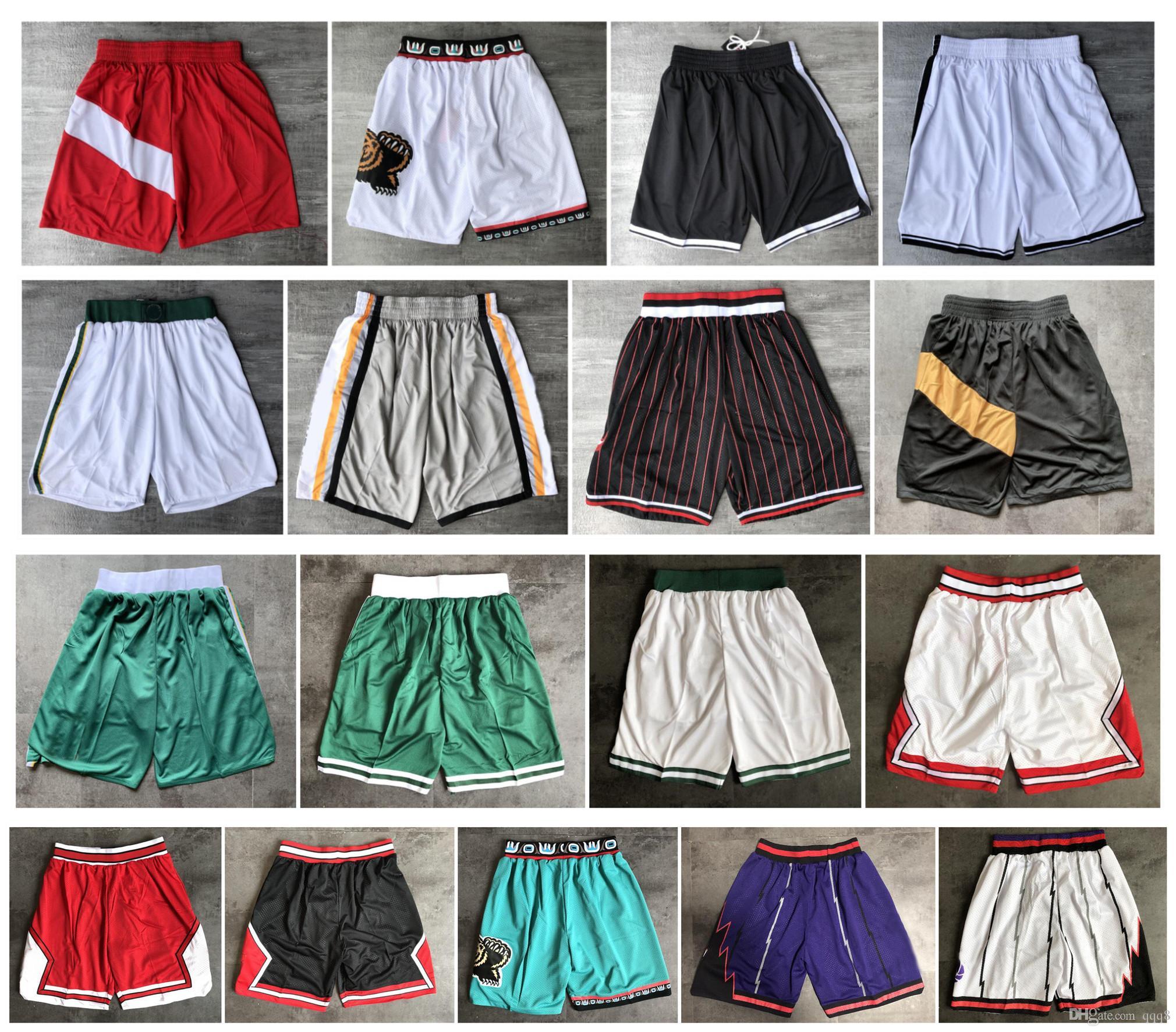 De calidad superior! 2019 Equipo Baloncesto Pantalones cortos Hombres Pantalones cortos pantaloncini da basket Pantalones cortos deportivos Pantalones universitarios Blanco Negro Rojo Púrpura Verde