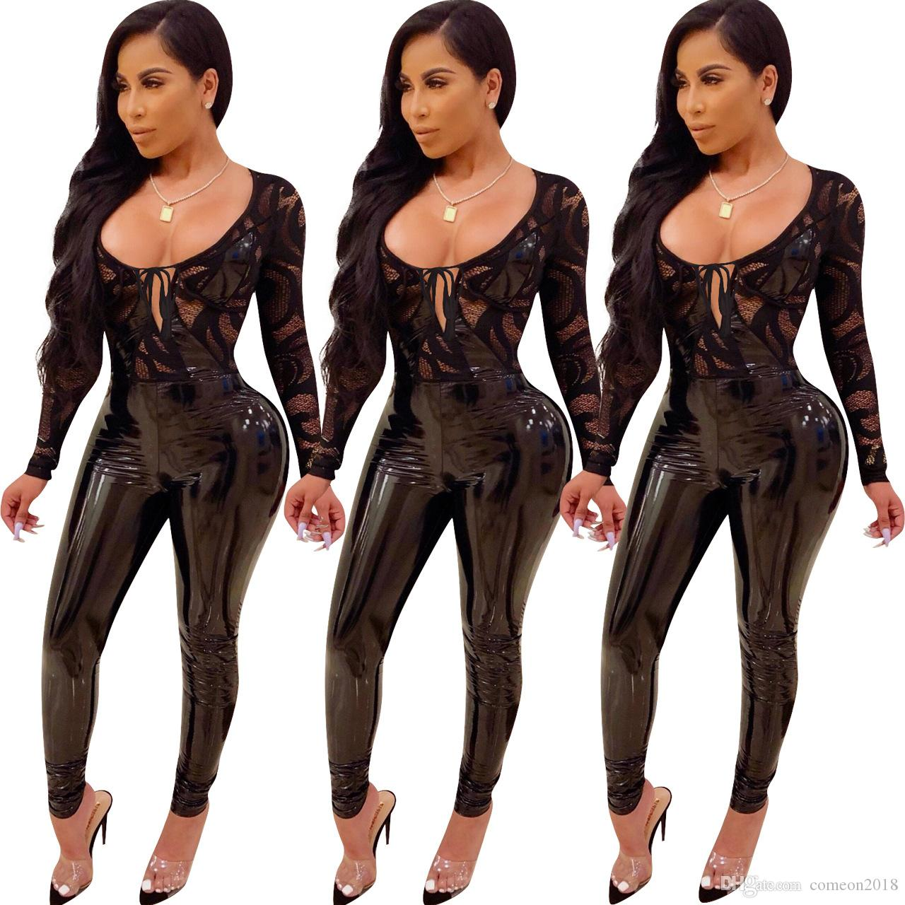 Fashion women clothes Women Jumpsuits Black PU Lace Hollow Out Scoop Neck long sleeve Sheer bodycon jumpsuit solid lack women rompers Y8053