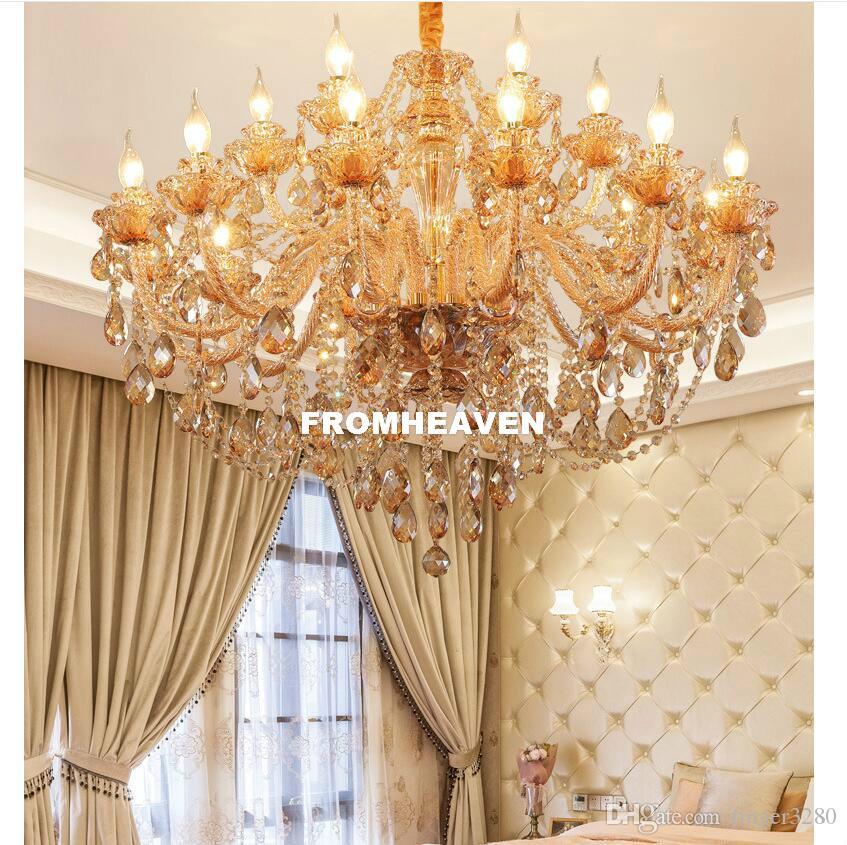Envío de oro moderna K9 araña de cristal brillo del cristal Lámparas de luz LED E14 Lustres De Cristal de la lámpara LED ámbar Villa Lam