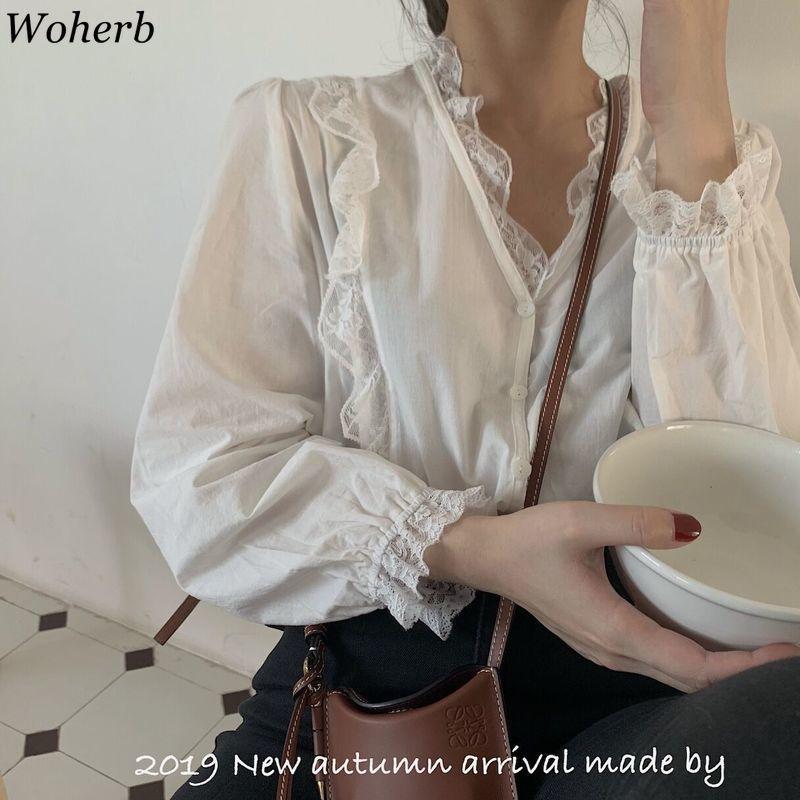 Woherb primavera-estate 2020 Nuovo coreano sottile camicetta Donne Elgant rappezzatura del merletto della camicia Solid monopetto con scollo a V Blusas Modis