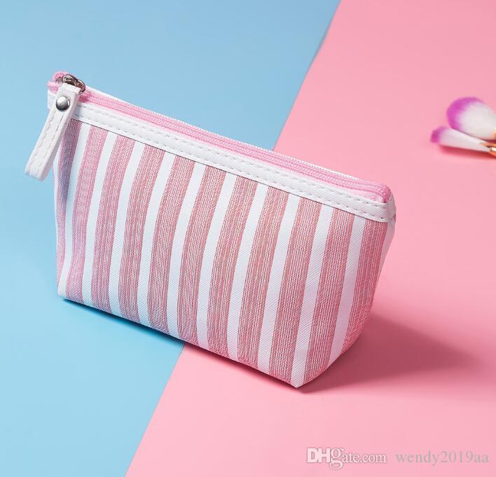Cosmetic DHL 50pcs Bag Mulheres Canvas Stripes Coin Bolsas Carteiras de titulares de viagem Wash outdoot saco de armazenamento portátil