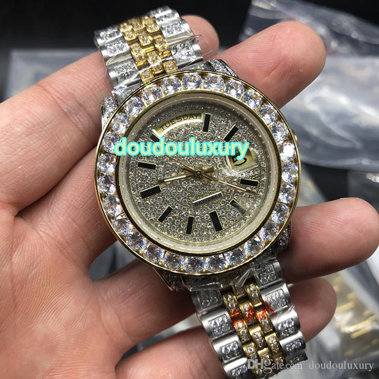 Orologio da uomo bi-oro con diamanti orologi top fashion orologi hip hop stile meccanico automatico orologio spedizione gratuita