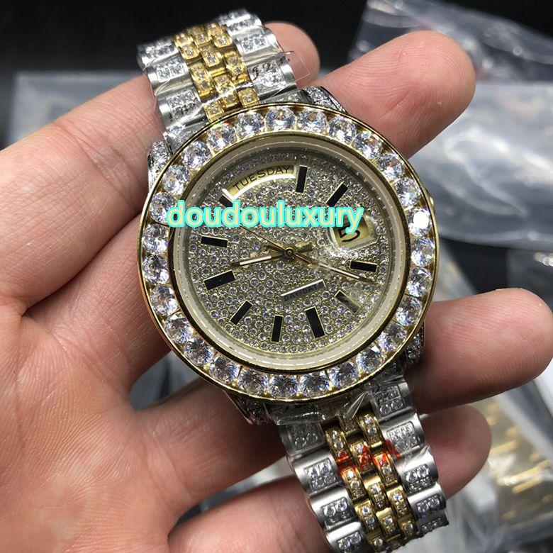 Erkek bi-altın elmas saatler en moda saatler hip hop rap tarzı otomatik mekanik İzle ücretsiz kargo