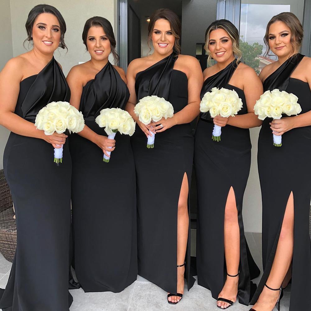 2020 Artı Boyutu Siyah Tek Omuz Gelinlik Dressess Vestidos De Damas De Hono Kılıf Gelinlik Modelleri Ön Bölünmüş Düğün Konuk Elbise