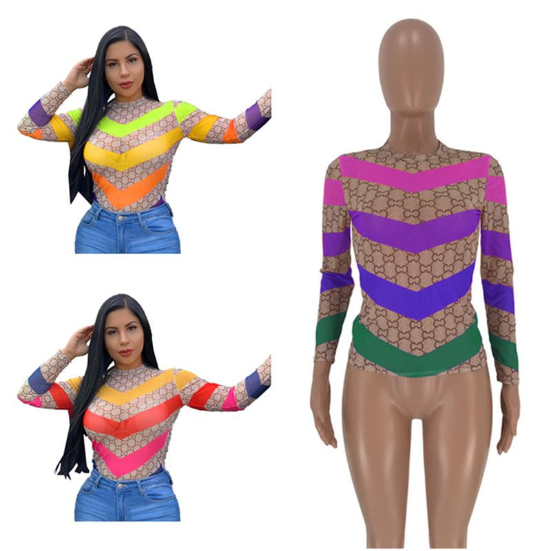 Women Designer T Shirt Long Sleeve O-neck Grenadine T-shirt Patchwork Color Fashion T-shirts Pullover Fashion See-through Tops Clothing Best