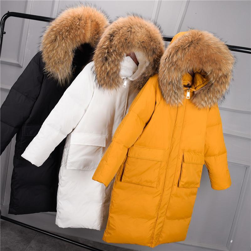 Ördek Beyaz Kadınlar Down Jacket Kış Sıcak Kalın Big Gerçek Kürk Yaka Kapşonlu Uzun Aşağı Parkas Coat Kadın Oversize Dış Giyim SF1220 T191030