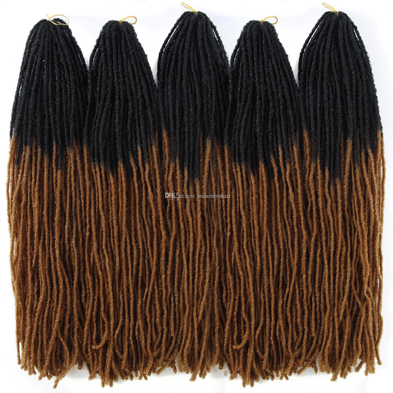 Soeur Locks Faux Locs Crochet EXTENDUES DE CHEVEUX COUCHES OMBRE Couleur 18 pouces TT Brown Synthetic Cheveux pour Femmes Braids Crochet