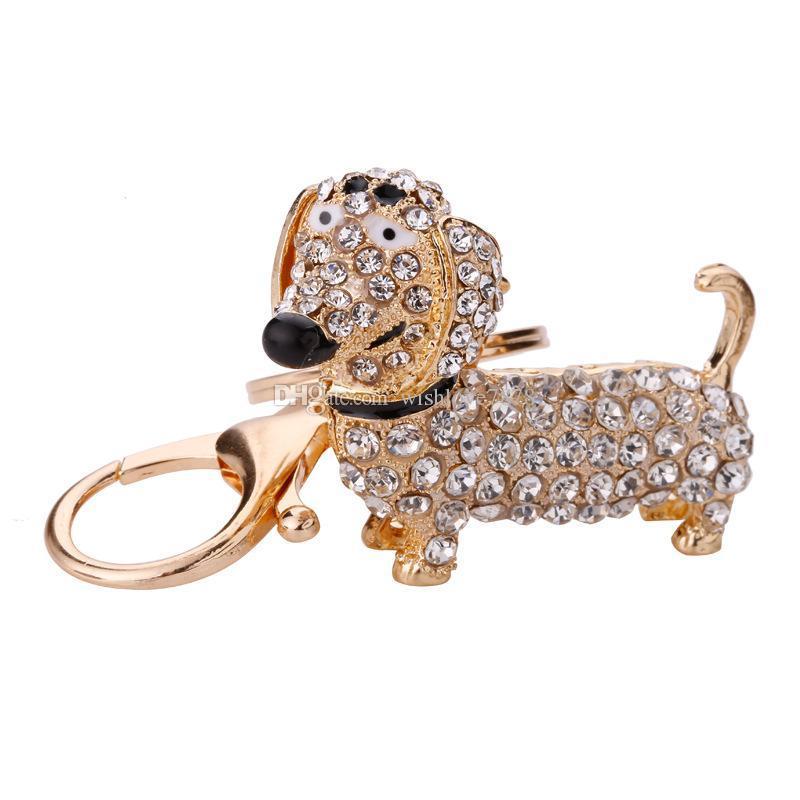 Rhinestone Crystal Dog Dachshund Llavero Bolsa Charm Colgante Llaves Titular de la Cadena Llavero Joyería Para Las Mujeres Chica regalo