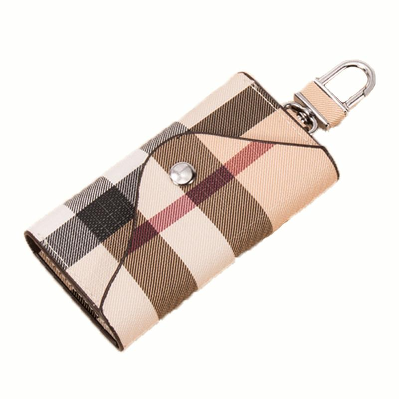 Fashion Plaid Multi function Men Car Key Wallet Holder Women Key chain Bag Car Keys Bag Leather Key Wallet Case