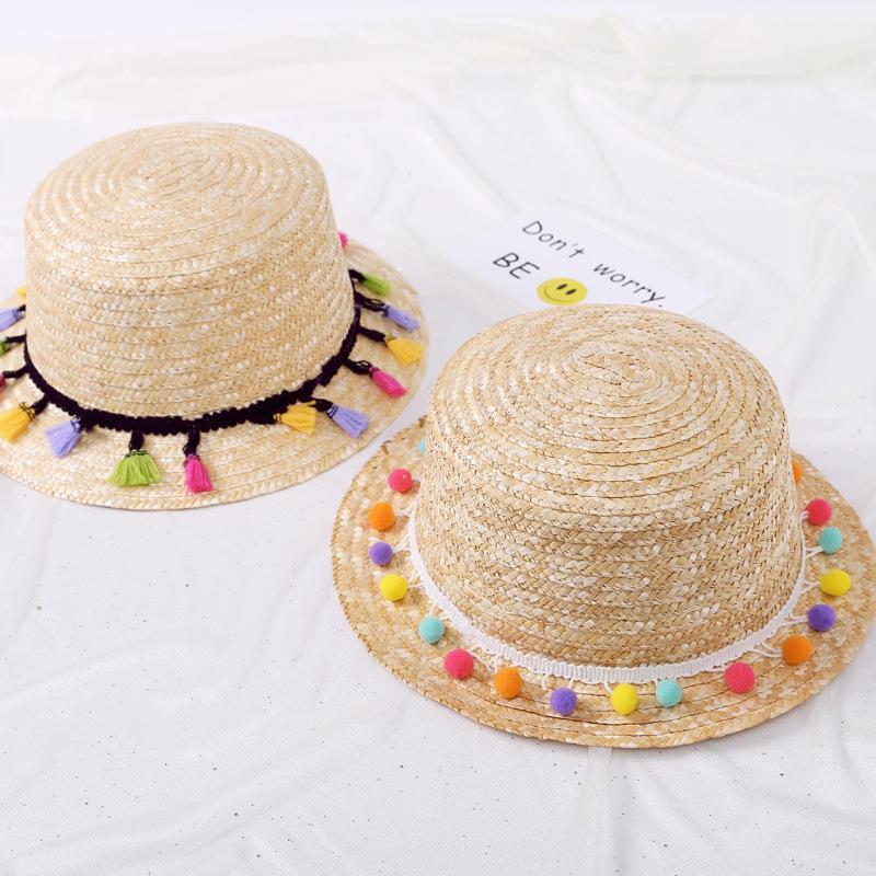 Round Top ala ancha sombreros de paja sombreros de Sun del verano para las mujeres con Ocio Playa plana de ala de lana multicolor bola de paja Caps 2020 Nuevo