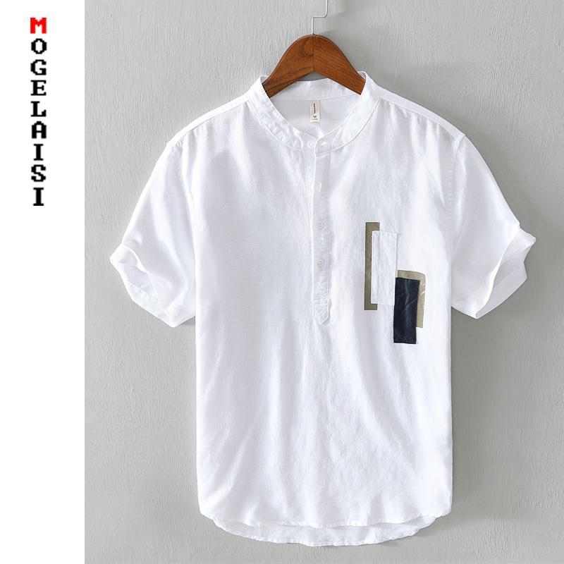 Новые белые рубашки мужчины с коротким рукавом 100% льняные рубашки топов моды Строчка летом дышащей твердым рубашки люди сорочкой Homme 567