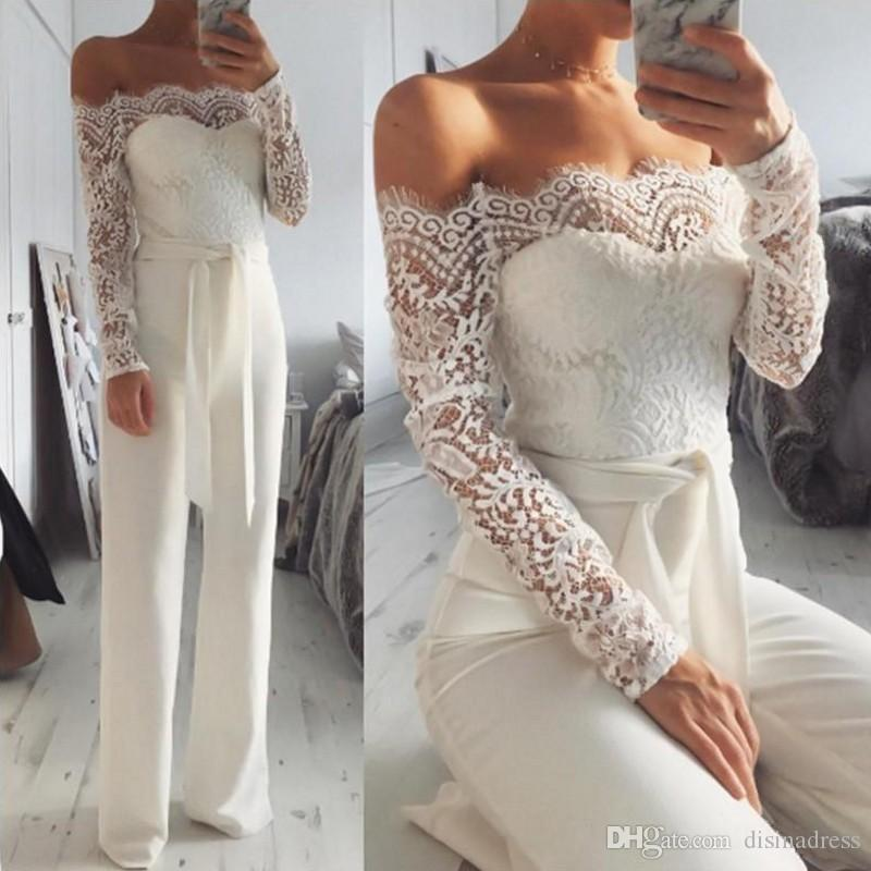 Women Jumpsuit Evening Dresses Summer Prom Party Dress Off Shoulder Long Sleeve Lace Evening Gowns Robe De Soiree Women Formal Wear